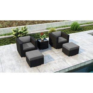 Everly Quinn Glendale 5 Piece Conversation Set with Sunbrella Cushion