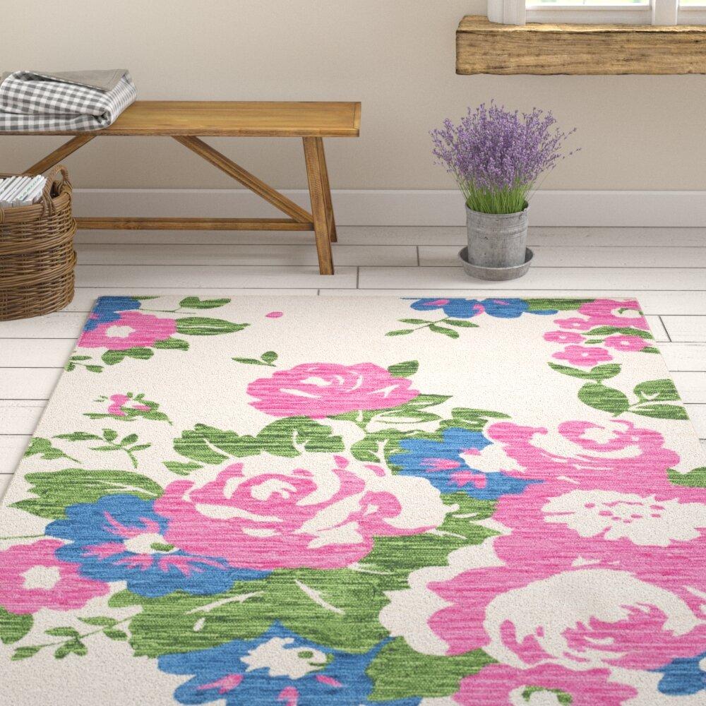 August Grove Elmsford Floral Handmade Flatweave 100 Cotton Pink Green Area Rug Reviews Wayfair