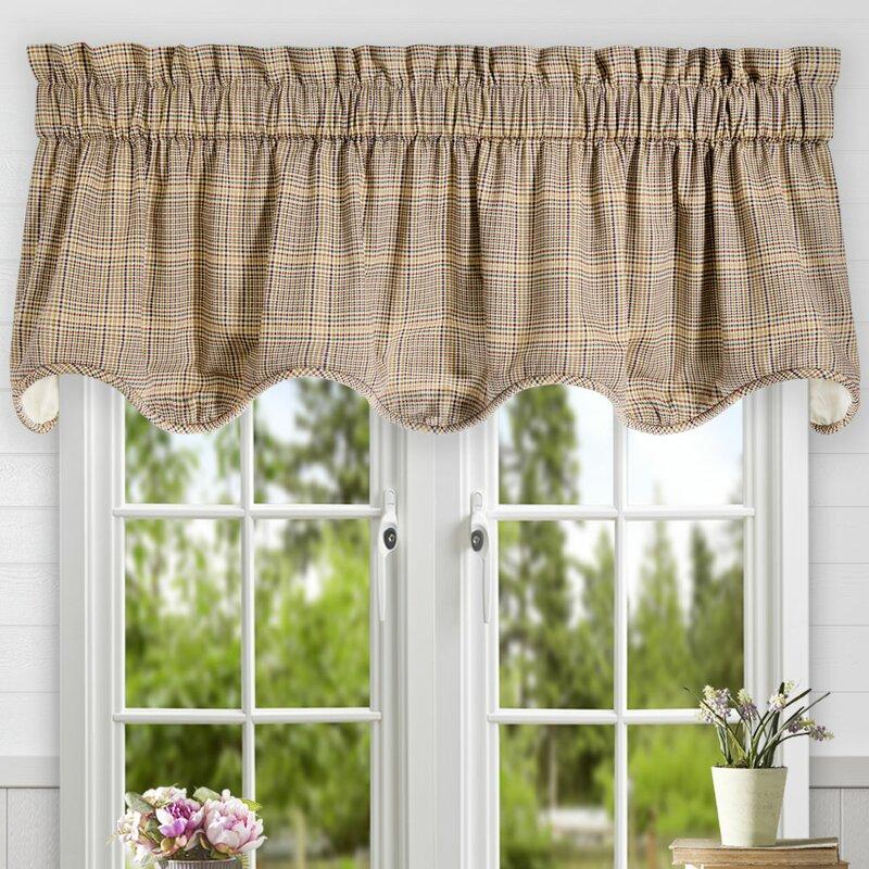 Charlton Home Marez Plaid Cotton Scallop Lined Window Valance Reviews Wayfair