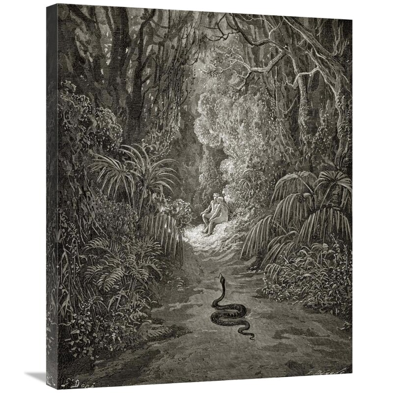 East Urban Home Satan As A Serpent Enters Paradise In Search Of Eve From Milton S Paradise Lost Print On Canvas Wayfair