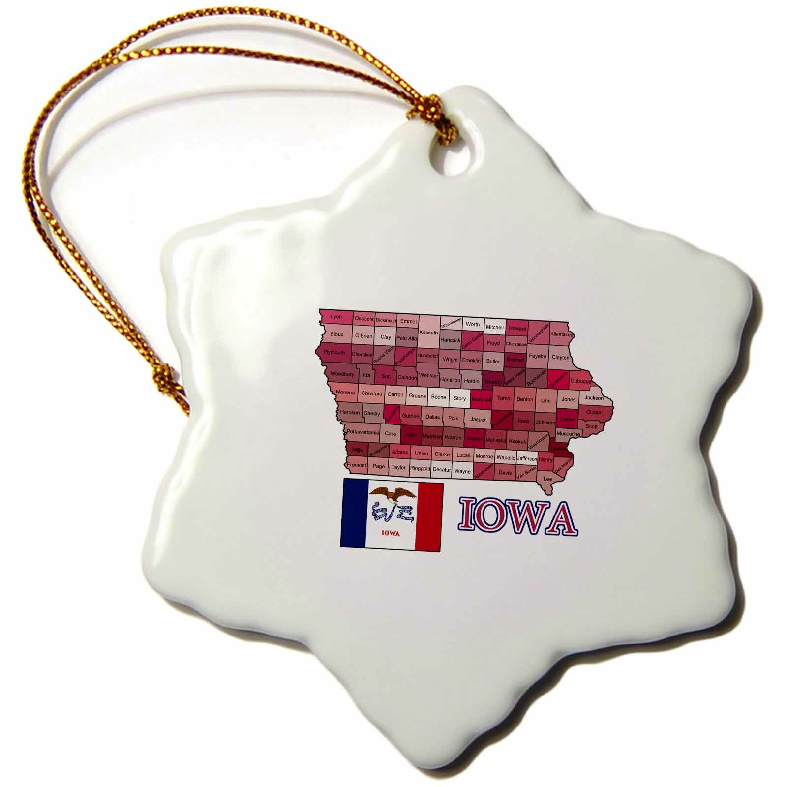 The Holiday Aisle Flag And Map Of Iowa Showing All The Counties In Different Colors Snowflake Holiday Shaped Ornament Wayfair
