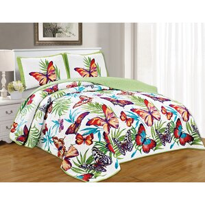 parekh butterfly garden reversible quilt set