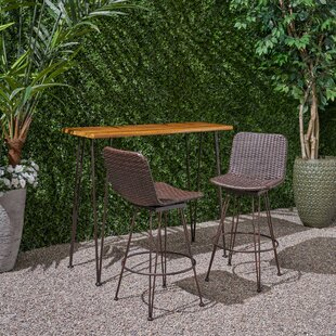 Noel Outdoor Acacia Wood and Iron 3-Piece Bar Set by 17 Stories