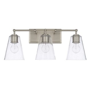 Read Reviews Gallego 3-Light Glass Shade Vanity Light By Three Posts