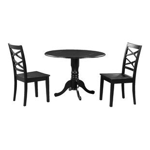 Brompton 3 Piece Drop Leaf Solid Wood Dining Set by Alcott Hill Spacial Price