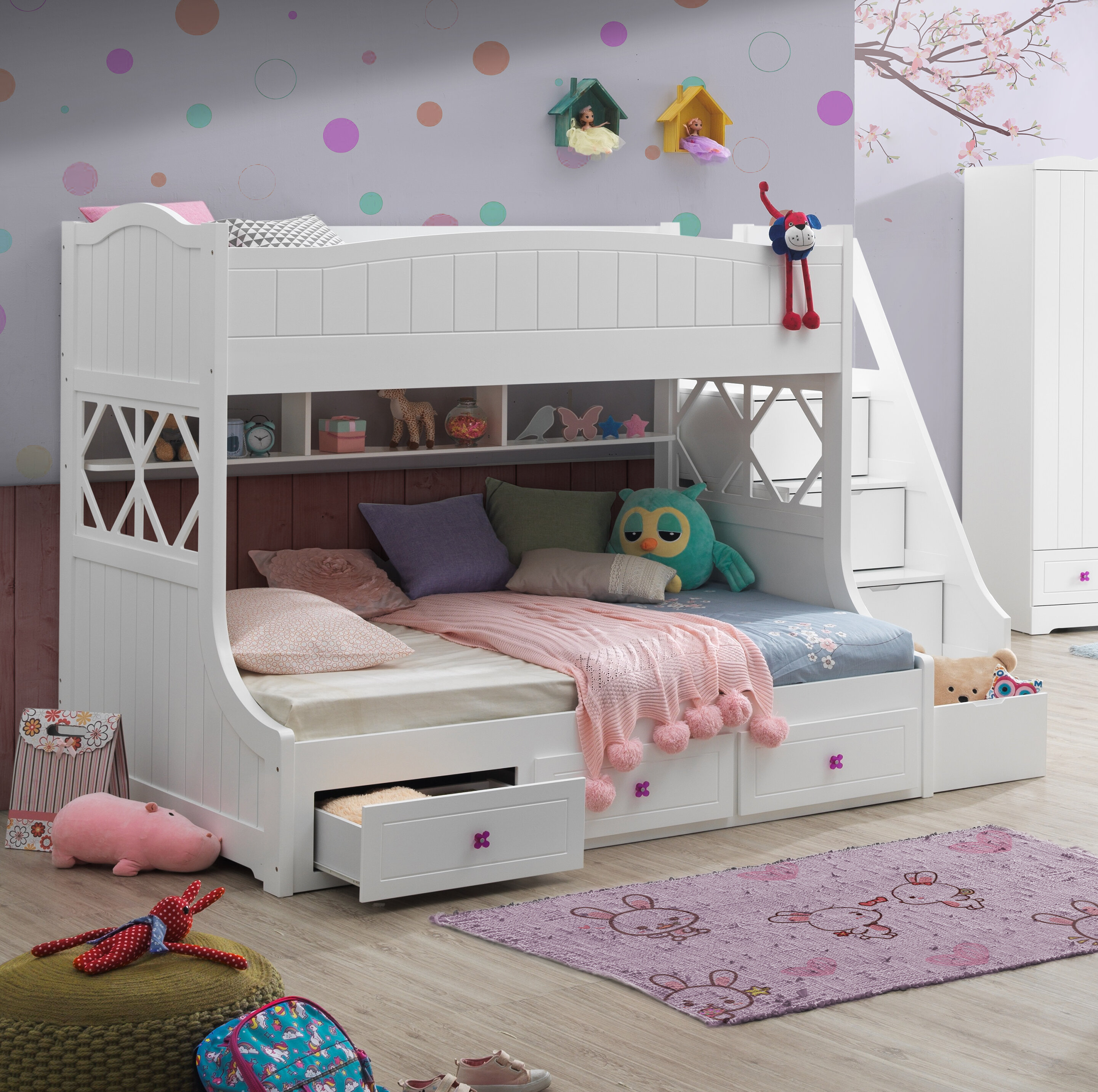 Harriet Bee Emeric Twin Over Full Bunk Bed With 3 Drawers Wayfair