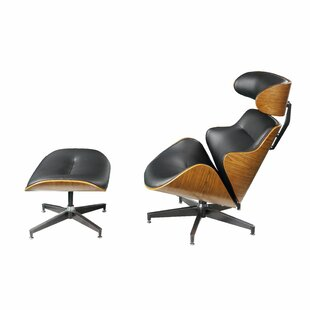 Hollandale Leatherette Wooden Swivel Side Chair and Ottoman Set of 2