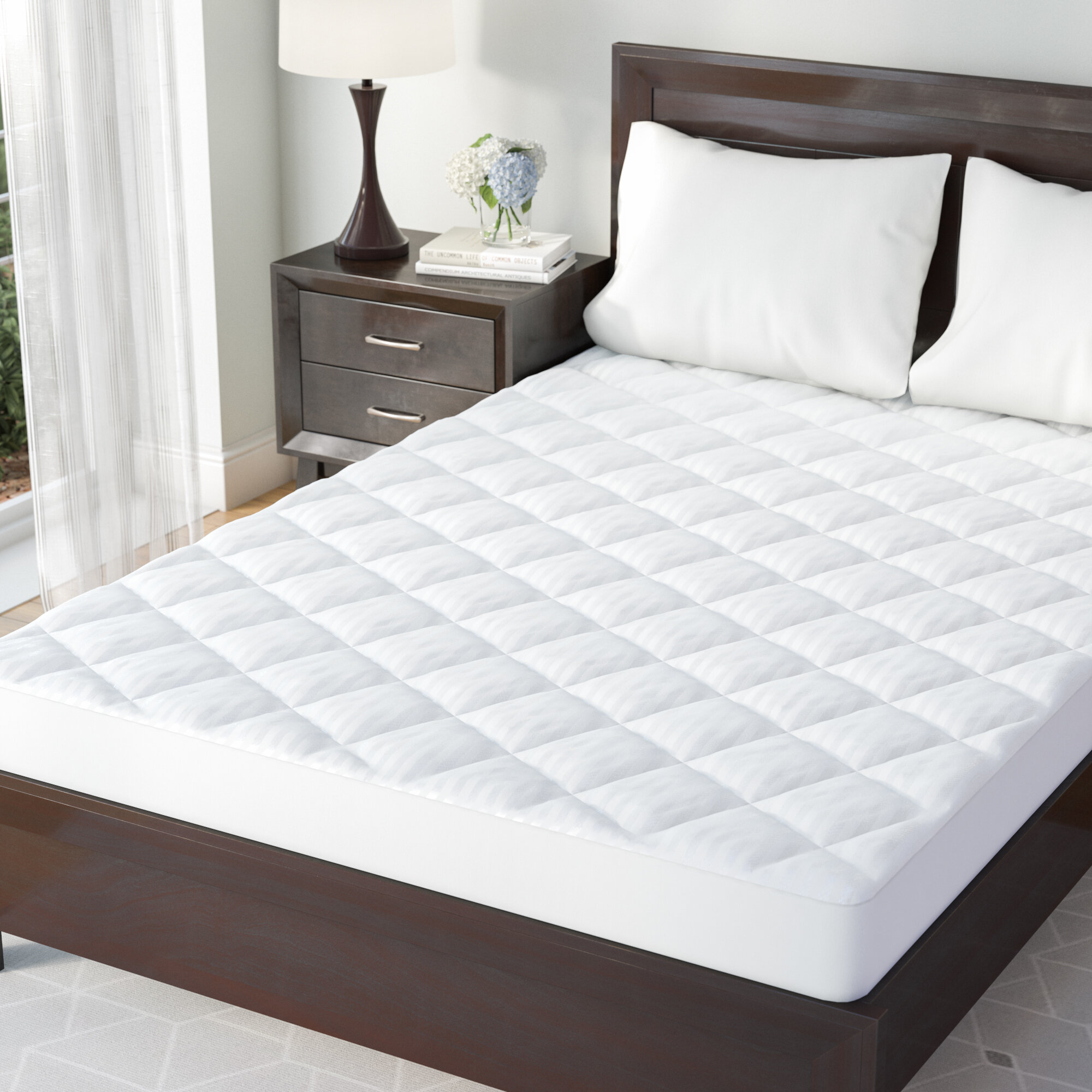 233 Thread Count ExceptionalSheets Quilted Deluxe Blended Feather and Down Bed//Mattress Topper Queen eLuxurySupply