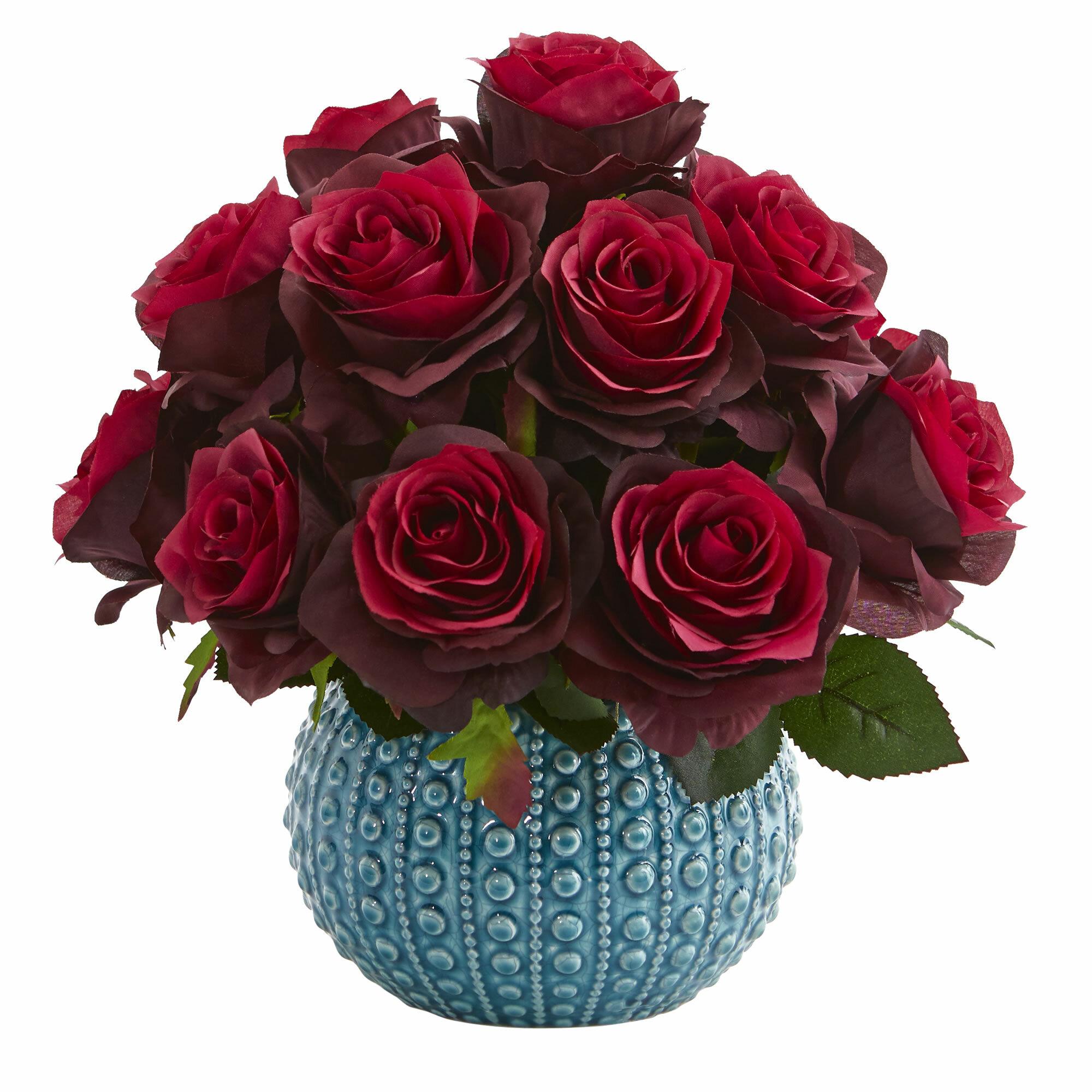 Rose Artificial Floral Arrangement In Ceramic Vase Reviews Joss
