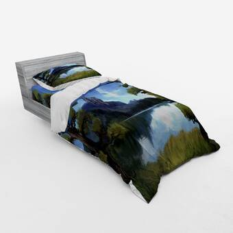 East Urban Home Moon Surreal Scene With Riverside Lake Forest And Medieval Castle On Hill Art Duvet Cover Set Wayfair