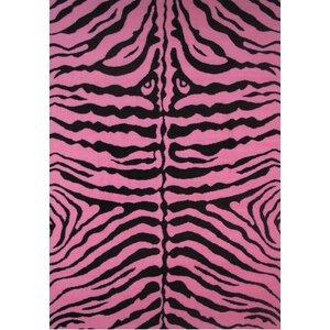 Fun Time Pink Zebra Skin Area Rug