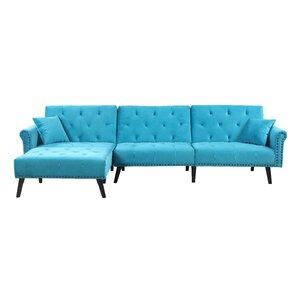 Salcombe Reversible Sleeper Sectional  sc 1 st  Wayfair : velvet sectional - Sectionals, Sofas & Couches