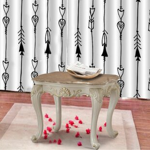 Allyson Marble Top Wooden End Table by Astoria Grand