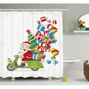 Bargain Christmas Santa on Motorbike Scooter Shower Curtain ByThe Holiday Aisle