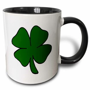 Simple Lucky Four Leaf Clover Design Coffee Mug