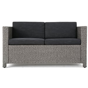 Polley Outdoor Wicker Loveseat with Cushions
