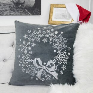Holiday Reef Embroidered Velvet Throw Pillow