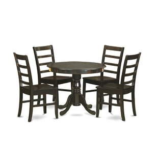 5 Piece Solid Wood Dining Set East West Furniture