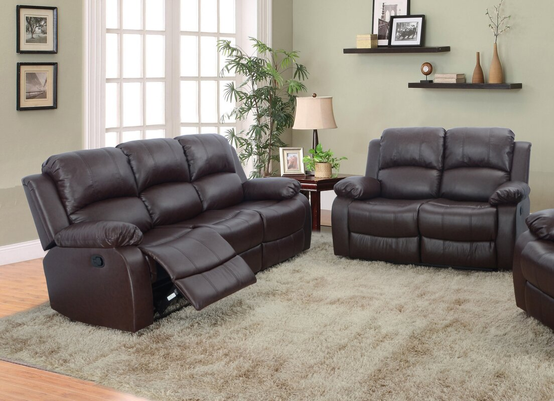 Maumee 2 Piece Leather Living Room Set. Red Barrel Studio Maumee 2 Piece Leather Living Room Set   Reviews
