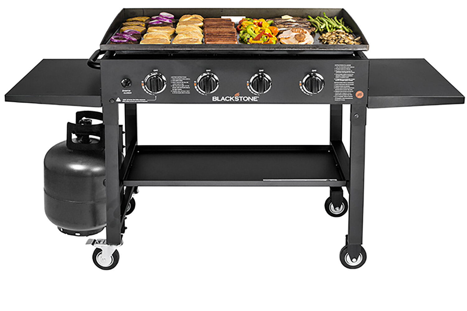 Blackstone Griddle Cooking Station 4 Burner Flat Top Propane Gas Grill With Side Shelves Reviews Wayfair