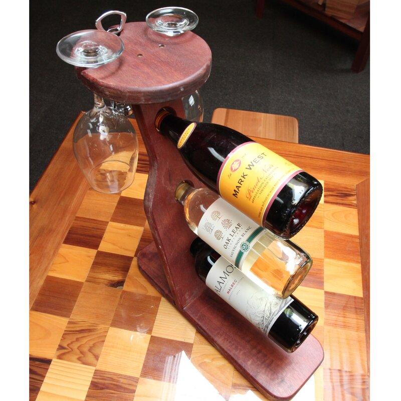 3 Bottle Tabletop Wine Rack