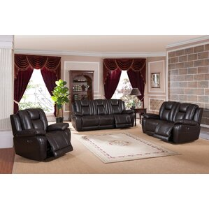Red Barrel Studio Mickey 3 Piece Leather Living Room Set