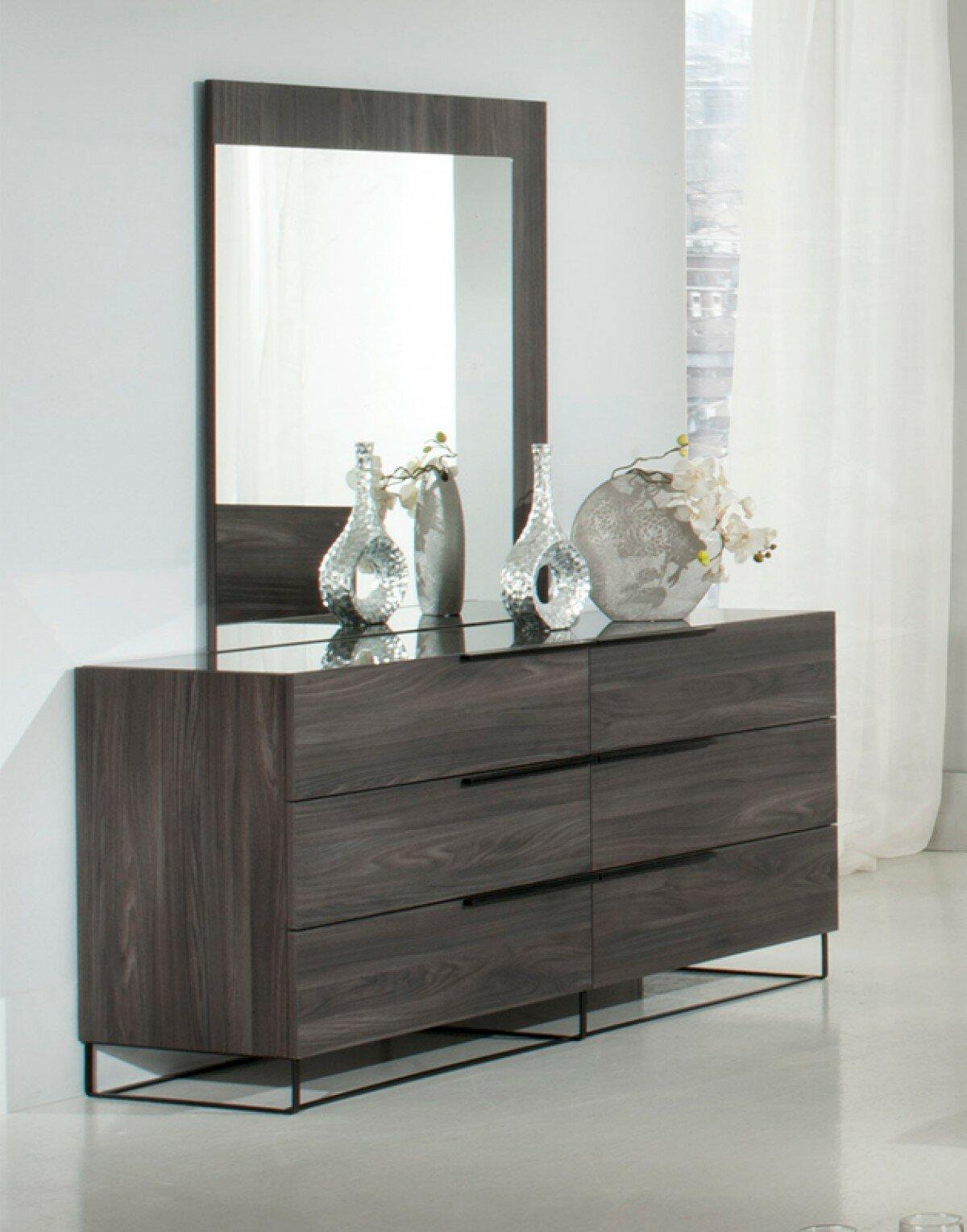 Mercury Row Saltz 6 Drawer Double Dresser With Mirror Reviews Wayfair