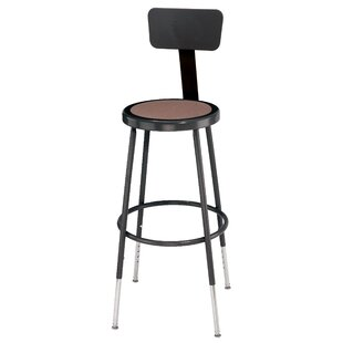Height Adjustable Stool with Back and Round Hardboard Seat