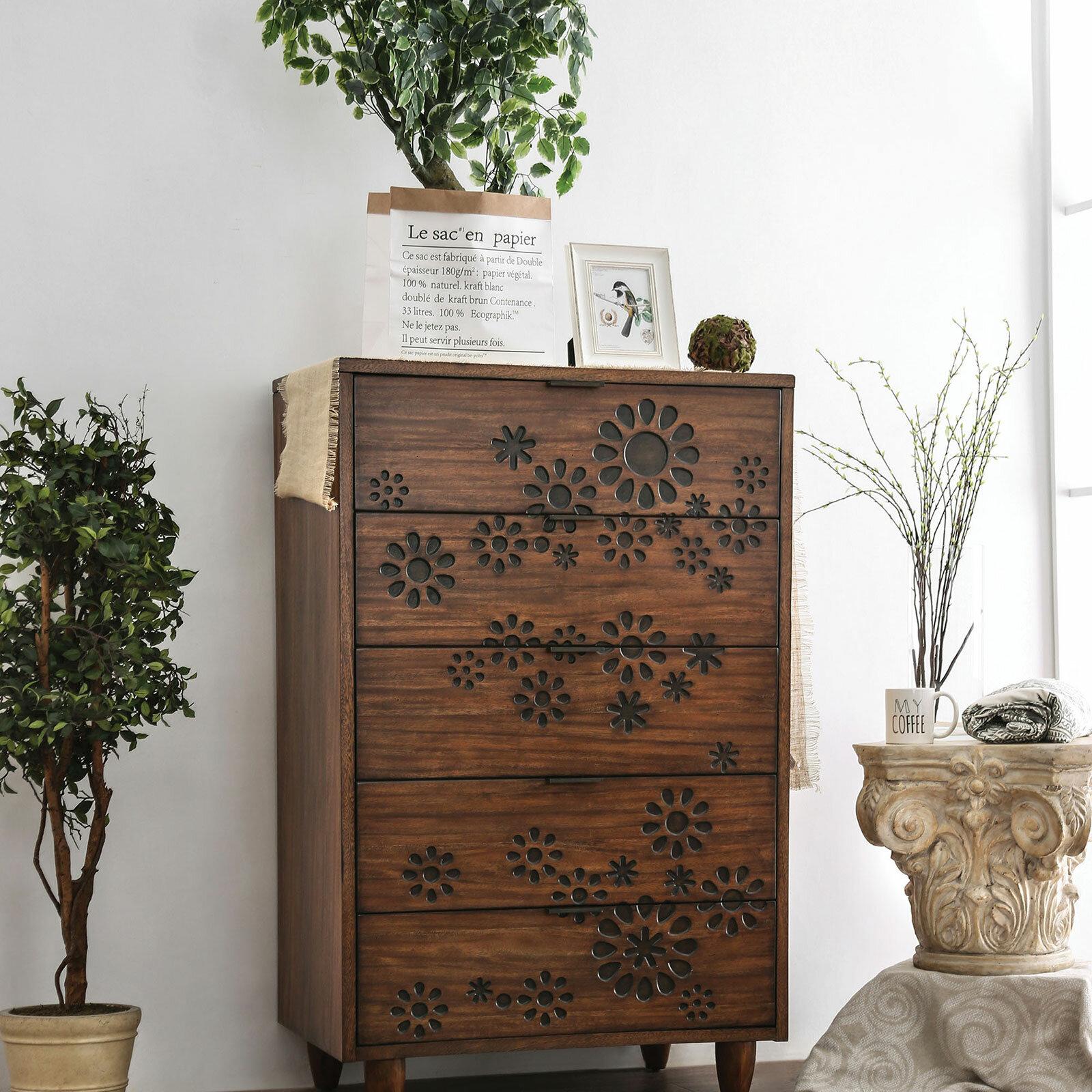 Canora Grey Turco Burnt Wood Floral Pattern Design 5 Drawer Chest Wayfair