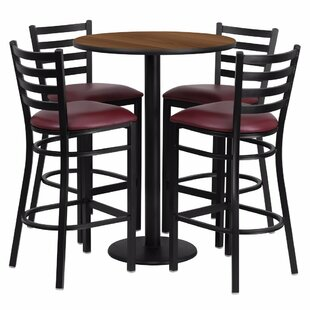 Alvarez Round Laminate 5 Piece Pub Table Set