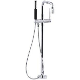 Purist Single Handle Floor Mount Tub Filler with Hand Shower