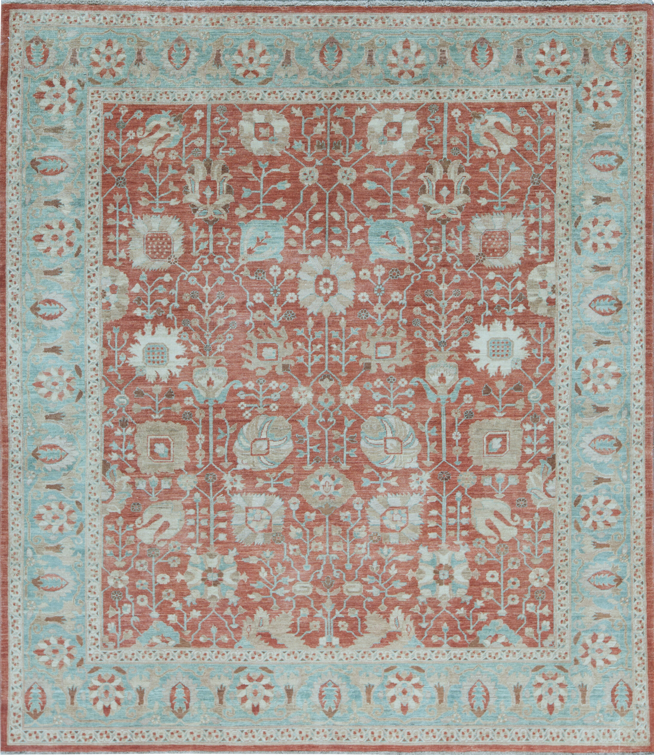 Bokara Rug Co Inc Aryana Oriental Hand Knotted Wool Rust Light Blue Area Rug Perigold