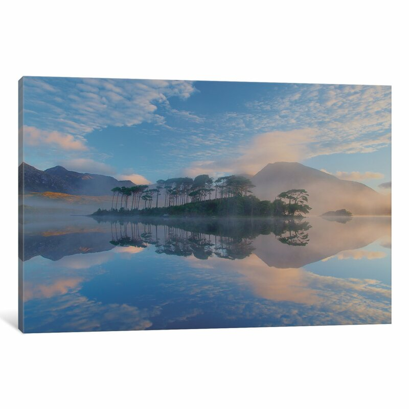 East Urban Home Misty Morning Reflection Photographic Print On Wrapped Canvas Wayfair