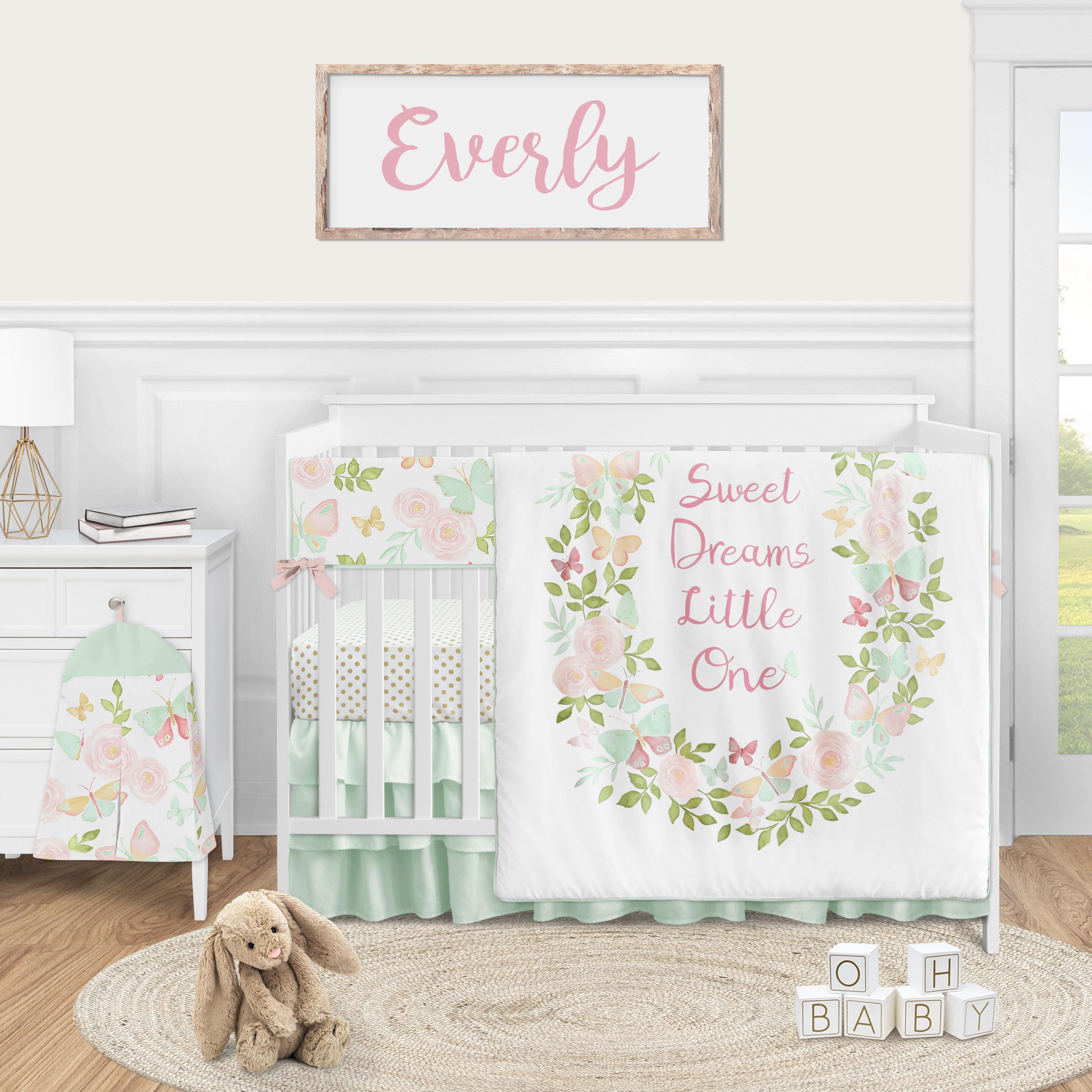 Sweet Jojo Designs Butterfly Floral 5 Piece Crib Bedding Set Wayfair