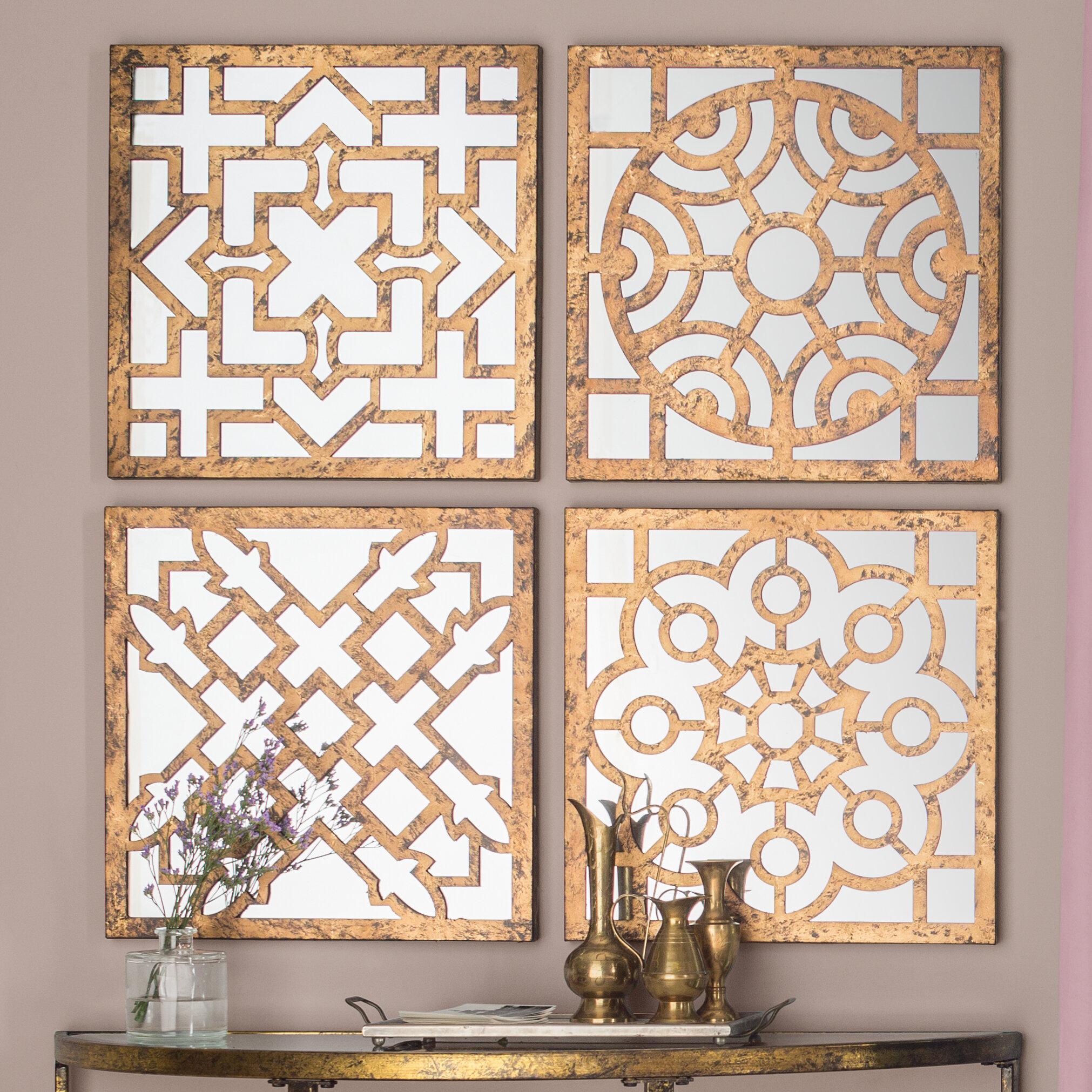 Fairmont Park 4 Piece Jacinth Mirrored Wall Decor Set Reviews Wayfair Co Uk