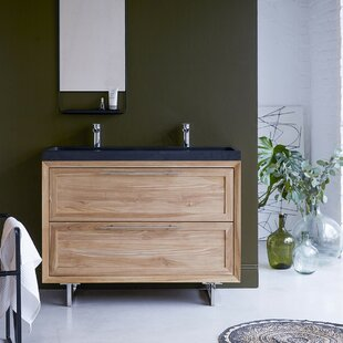 Wave Solid Teak 1210mm Free-Standing Double Vanity Unit By Tikamoon