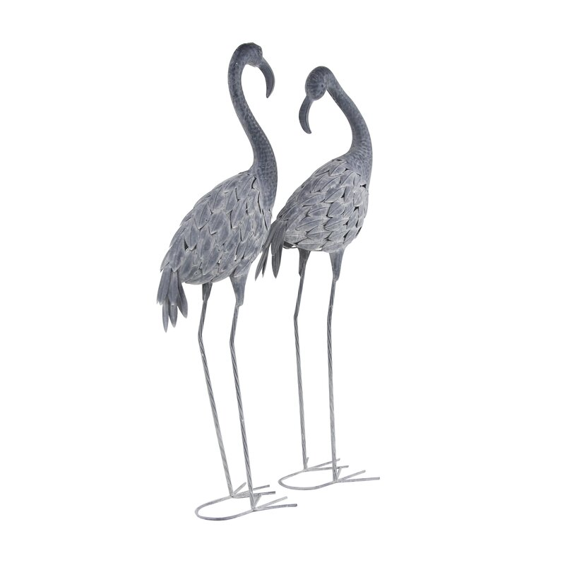 Bay Isle Home Hobner Flamingo Metal 2 Piece Figurine Set Wayfair