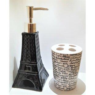 Bridesdale Novelty Eiffel Tower Ceramic Bathroom Accessory Set (Set Of 2)