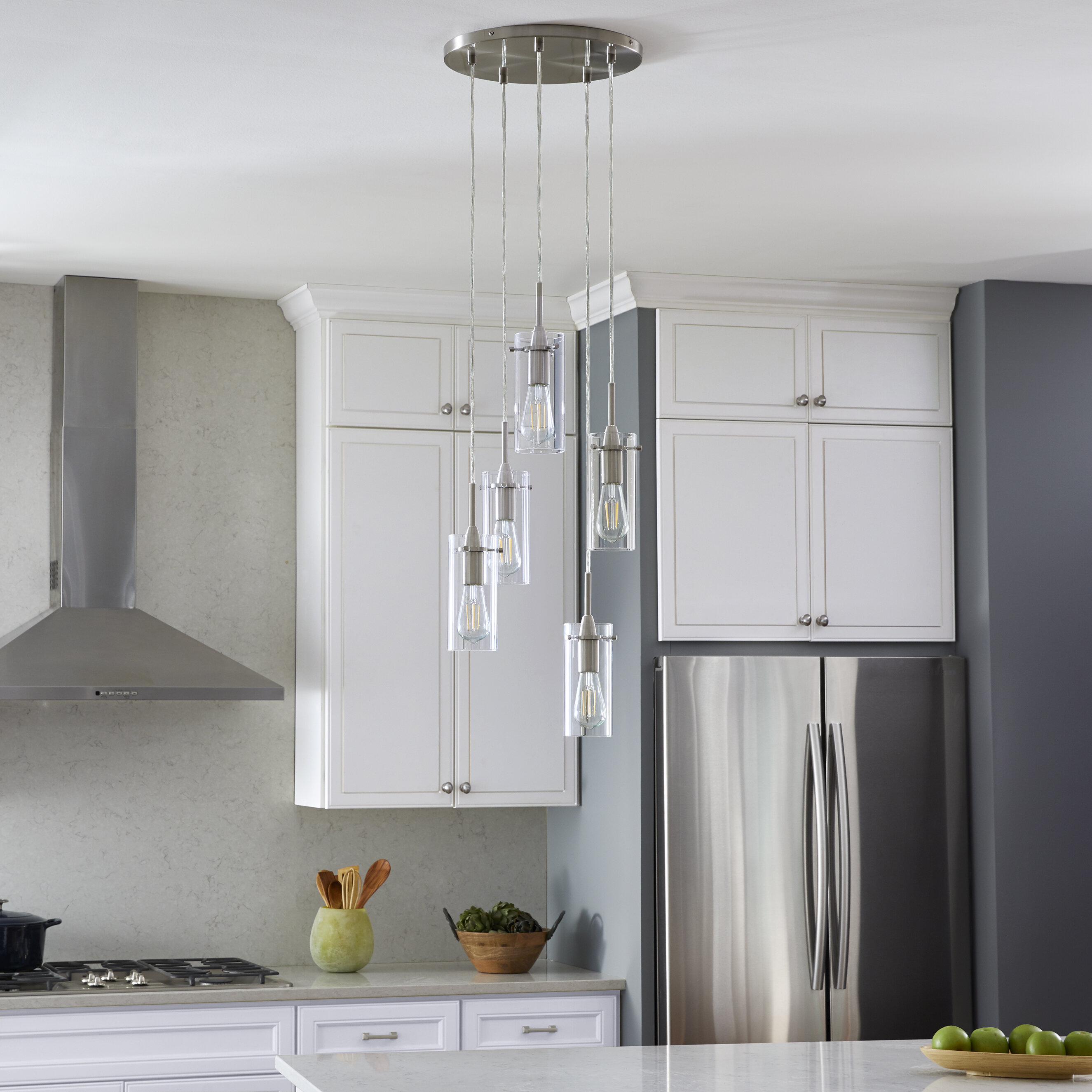 Ebern Designs Kinslee 5 Light Cluster Cylinder Pendant Reviews Wayfair