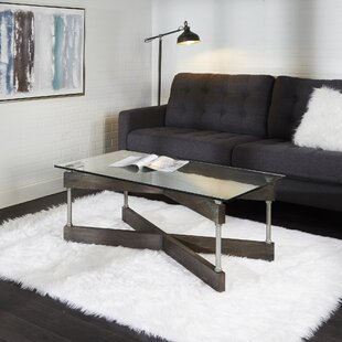 Reiner X-Frame Glass and Wood Coffee Table