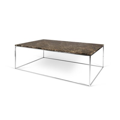 Brayden Studio Soltane Coffee Table Top Color: Brown Marble, Base Color: Chrome