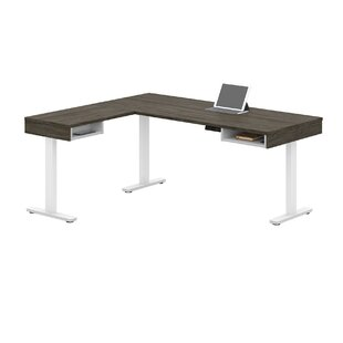 Hanger Pro-Vega Height Adjustable L-Desk in White and Black
