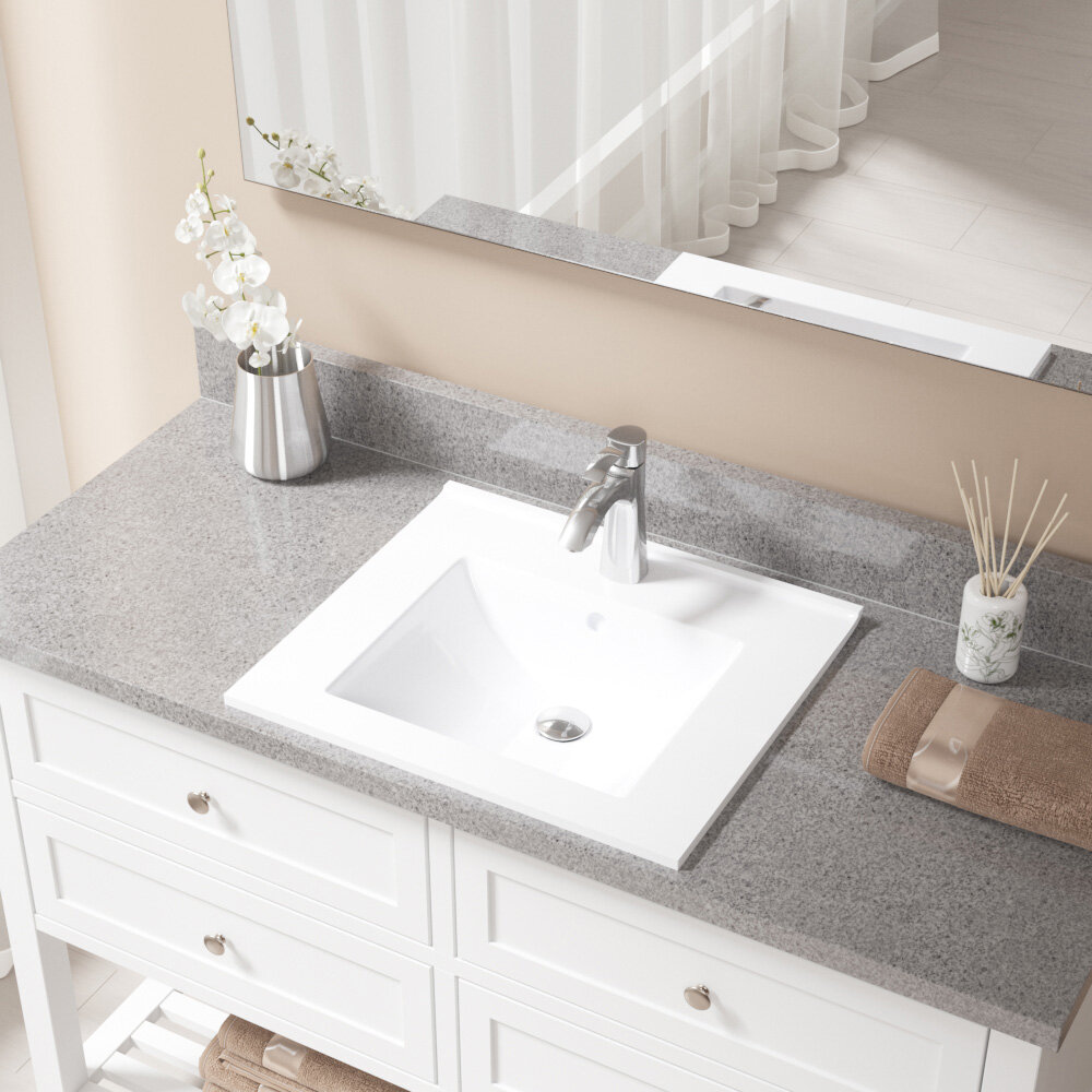 V310 w 725 c vitreous china rectangular vessel bathroom sink with faucet and overflow