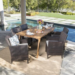 Ivy Bronx Gerdes Outdoor 7 Piece Dining Set with Cushions