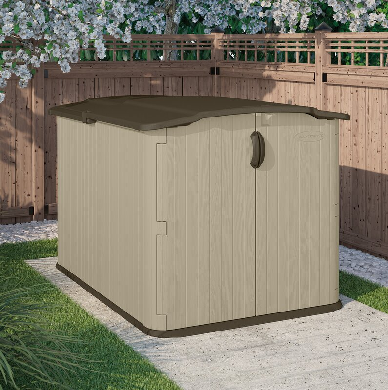 Suncast Vanilla Outdoor 4 ft 10 in. W x 6 ft. 8 in D Plastic Horizontal Tool Shed