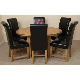 Soejima Solid Oak Dining Set With 6 Washington Chairs By Rosalind Wheeler
