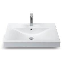 "Mona 23.6"" Rectangular Ceramic Wall Mounted or Self-Rimming Bathroom Sink"