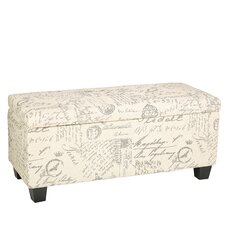 Fitzgerald Script Upholstered Storage Bench by Cortesi Home