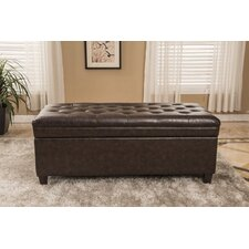 Classic Waxed Texture Dark Tufted Wood Storage Bedroom Bench by Bellasario Collection