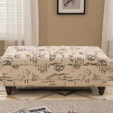 French Writing Postmark Print Tufted Wood Storage Bedroom Bench by Bellasario Collection